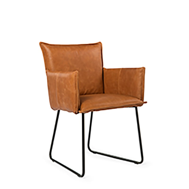 Duke Dining Chair With Arm Bonaza Tan Oblique (2)